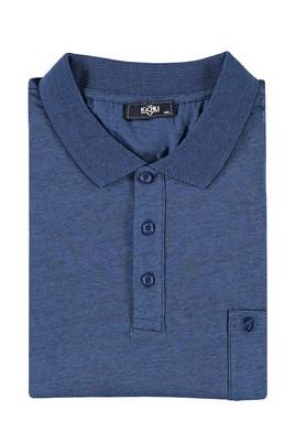 Erkek Giyim - KOYU MAVİ 6X Beden King Size Polo Yaka Çizgili Tişört