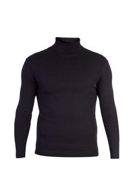 Erkek Giyim - Siyah XL Beden Balıkçı Yaka Slim Fit Sweatshirt