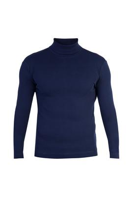 Erkek Giyim - Lacivert M Beden Balıkçı Yaka Slim Fit Sweatshirt