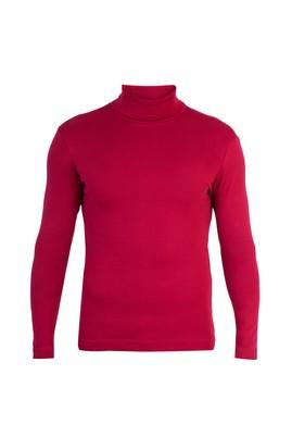 Erkek Giyim - Kırmızı L Beden Balıkçı Yaka Slim Fit Sweatshirt