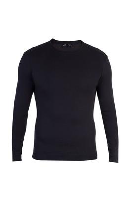 Erkek Giyim - Siyah XXL Beden Bisiklet Yaka Slim Fit Sweatshirt