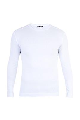 Erkek Giyim - Beyaz XXL Beden Bisiklet Yaka Slim Fit Sweatshirt