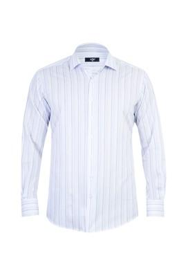 Erkek Giyim - Beyaz 3X Beden Uzun Kol Regular Fit Çizgili Gömlek