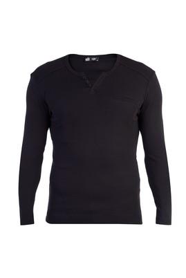 Erkek Giyim - Siyah L Beden V Yaka Slim Fit Sweatshirt