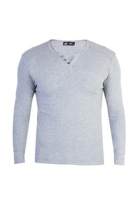 Erkek Giyim - Orta füme M Beden V Yaka Slim Fit Sweatshirt