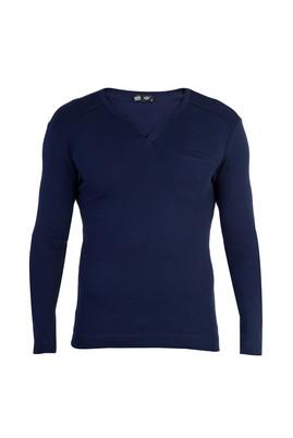 Erkek Giyim - Lacivert XXL Beden V Yaka Slim Fit Sweatshirt