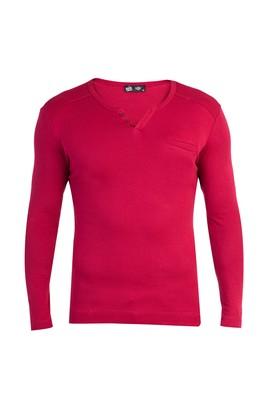 Erkek Giyim - Kırmızı M Beden V Yaka Slim Fit Sweatshirt