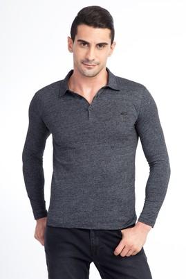 Erkek Giyim - Siyah XXL Beden Polo Yaka Slim Fit Sweatshirt