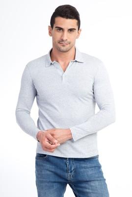 Erkek Giyim - Açık Gri M Beden Polo Yaka Slim Fit Sweatshirt