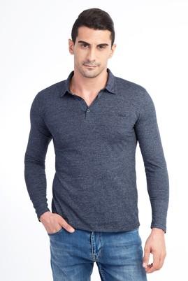 Erkek Giyim - Lacivert XXL Beden Polo Yaka Slim Fit Sweatshirt