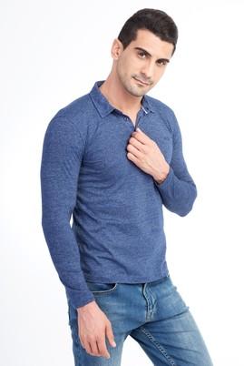 Erkek Giyim - Mavi L Beden Polo Yaka Slim Fit Sweatshirt