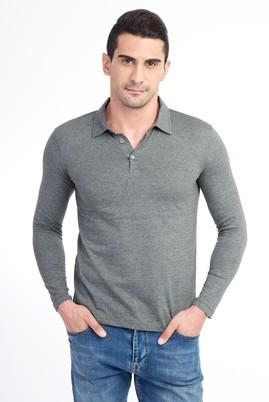 Erkek Giyim - HAKİ L Beden Polo Yaka Slim Fit Sweatshirt