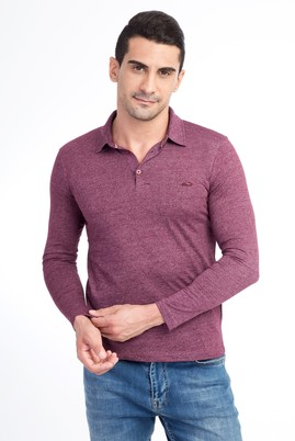 Erkek Giyim - Bordo XL Beden Polo Yaka Slim Fit Sweatshirt