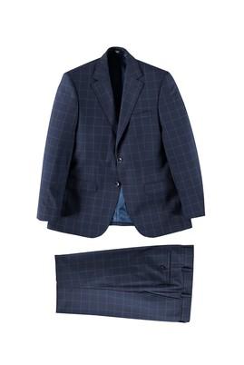 Erkek Giyim - KOYU MAVİ 52 Beden Kareli Takım Elbise