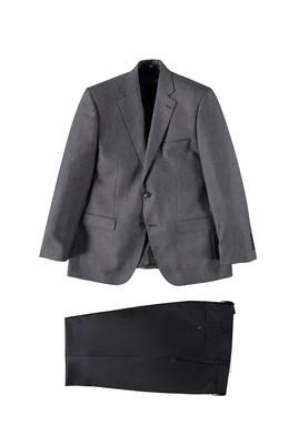 Erkek Giyim - Füme Gri 56 Beden Yelekli Kuşgözü Takım Elbise