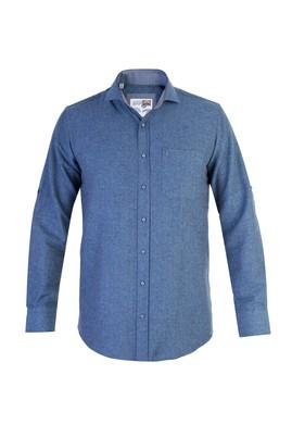 Erkek Giyim - Lacivert 4X Beden Uzun Kol Oduncu Gömlek
