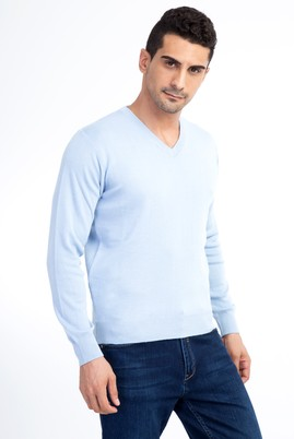 Erkek Giyim - Mavi XL Beden V Yaka Yünlü Regular Fit Triko Kazak
