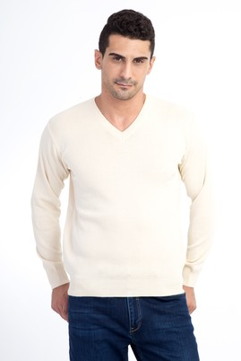 Erkek Giyim - Bej XL Beden V Yaka Yünlü Regular Fit Triko Kazak