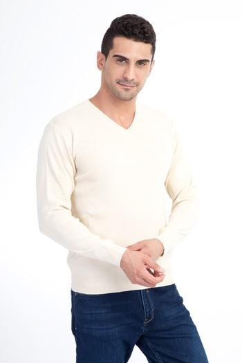 Erkek Giyim - V Yaka Yünlü Regular Fit Triko Kazak