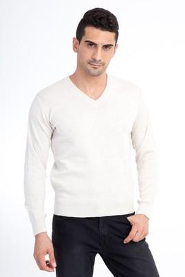 Erkek Giyim - Kum L Beden V Yaka Regular Fit Triko Kazak