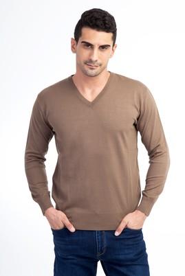 Erkek Giyim - Kahve M Beden V Yaka Regular Fit Triko Kazak