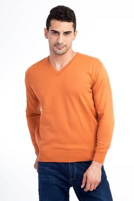 Erkek Giyim - Turuncu M Beden V Yaka Regular Fit Triko Kazak