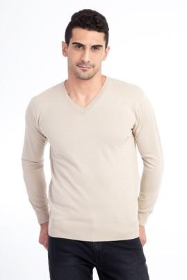 Erkek Giyim - VİZON XL Beden V Yaka Regular Fit Triko Kazak