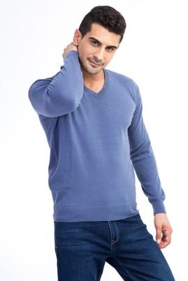Erkek Giyim - Mavi L Beden V Yaka Yünlü Regular Fit Triko Kazak