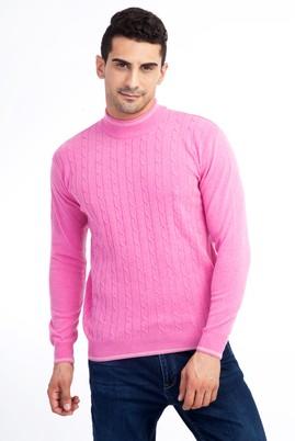 Erkek Giyim - Pembe M Beden Bato Yaka Regular Fit Triko Kazak
