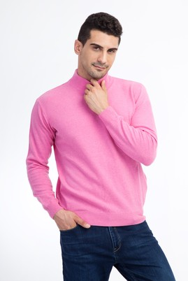 Erkek Giyim - Pembe L Beden Bato Yaka Regular Fit Triko Kazak