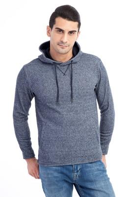 Erkek Giyim - Lacivert XXL Beden Kapüşonlu Slim Fit Sweatshirt