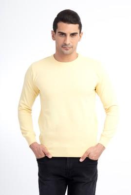 Erkek Giyim - Sarı L Beden Bisiklet Yaka Regular Fit Triko Kazak