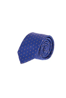 Erkek Giyim - KOYU MAVİ 65 Beden Desenli İnce Kravat