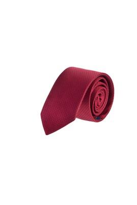 Erkek Giyim - Kırmızı 65 Beden Desenli İnce Kravat
