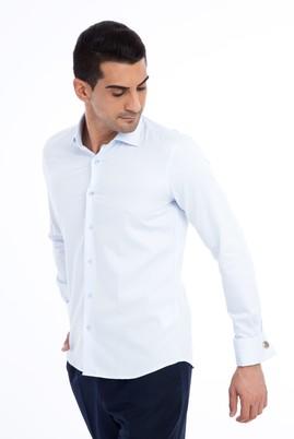 Erkek Giyim - Açık Mavi M Beden Uzun Kol Manşetli Slim Fit Gömlek