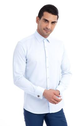 Erkek Giyim - Açık Mavi XS Beden Uzun Kol Manşetli Slim Fit Gömlek