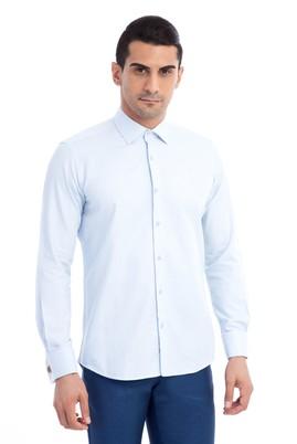 Erkek Giyim - Açık Mavi XL Beden Uzun Kol Manşetli Slim Fit Gömlek
