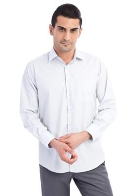 Erkek Giyim - Açık Gri M Beden Uzun Kol Klasik Gömlek