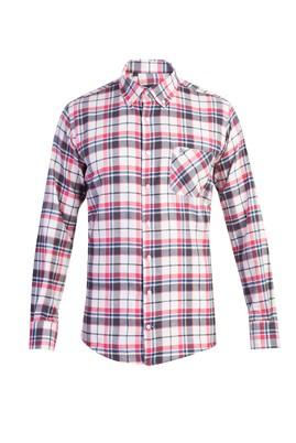 Erkek Giyim - Pembe L Beden Uzun Kol Oduncu Ekose Gömlek