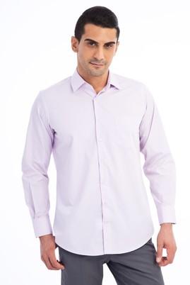 Erkek Giyim - Lila XXL Beden Uzun Kol Klasik Gömlek