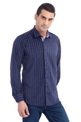 Erkek Giyim - Lacivert XXL Beden Uzun Kol Çizgili Oduncu Gömlek