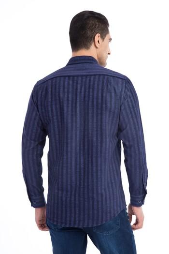 Erkek Giyim - Uzun Kol Çizgili Oduncu Gömlek
