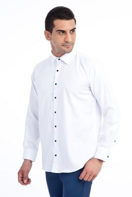 Erkek Giyim - Beyaz XL Beden Uzun Kol Desenli Spor Gömlek