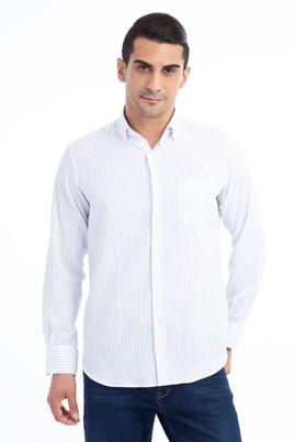 Erkek Giyim - Beyaz 3X Beden Uzun Kol Çizgili Klasik Gömlek