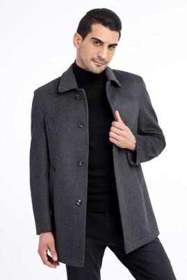 Erkek Giyim - Antrasit 54 Beden Kaşe Yün Kaban