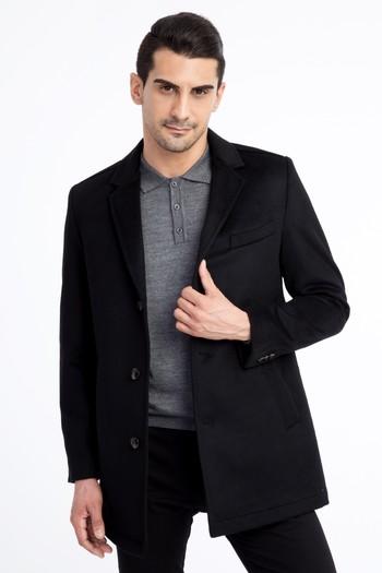 Erkek Giyim - Slim Fit Kaşe Yün Kaban
