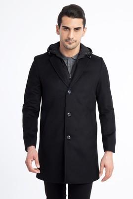 Erkek Giyim - Siyah 58 Beden Kapüşonlu Kaşe Yün Kaban
