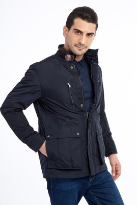 Erkek Giyim - Lacivert 50 Beden Dik Yaka Kaban