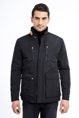 Erkek Giyim - Siyah 54 Beden Dik Yaka Kaban