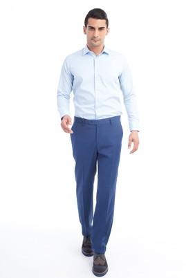 Erkek Giyim - Mavi 50 Beden Yünlü Klasik Pantolon